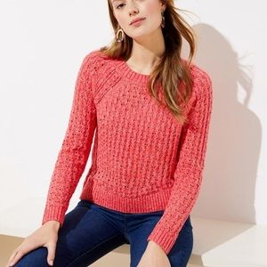 LOFT Marled Bobble Spring Coral Pointelle Sweater